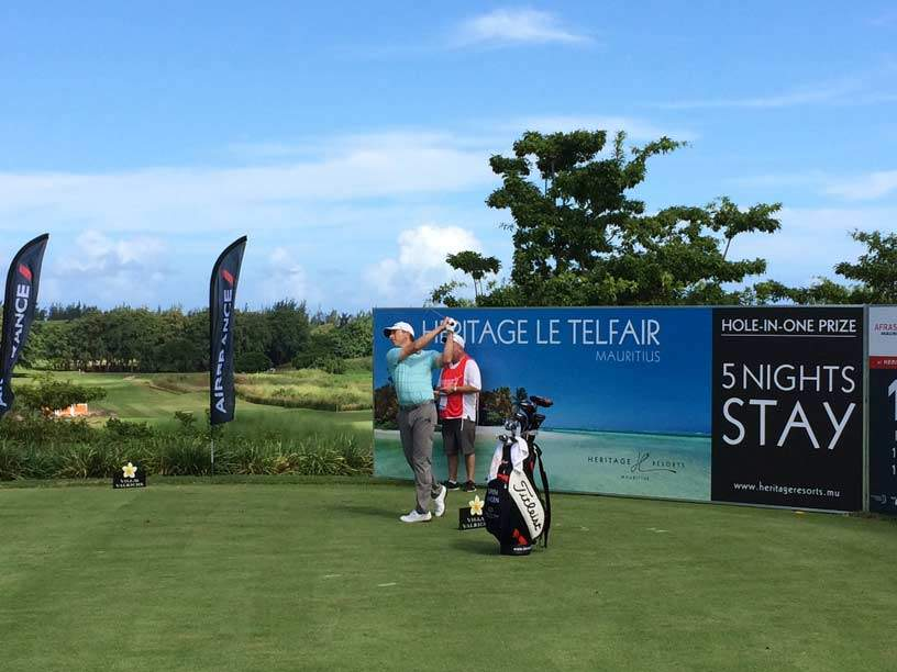 Soren Hansen teeing off in the Pro-Am at the AfrAsia Open Mauritiu